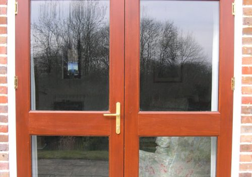Timber french door installation