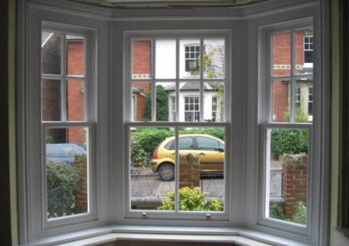 White timber sash bay window interior
