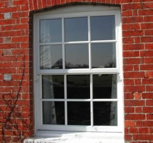 Timber sliding sash window close up