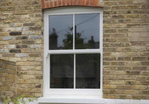 White uPVC vertical sliding windows