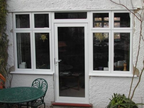 White aluminium back door
