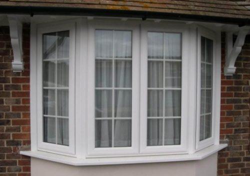 White uPVC bay casement window