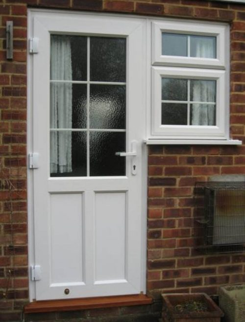 White uPVC front door with astragal bars