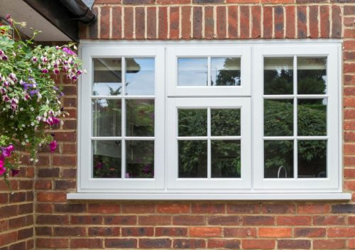 White uPVC timber effect casement window