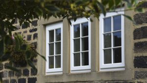 White timber casement window
