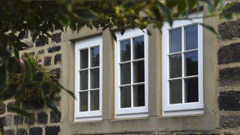 White timber casement window