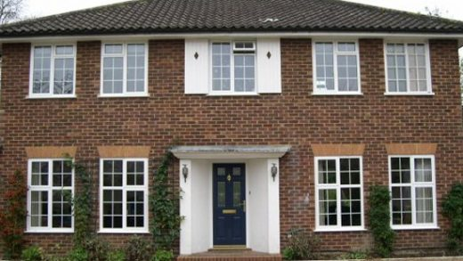 White aluminium casement windows