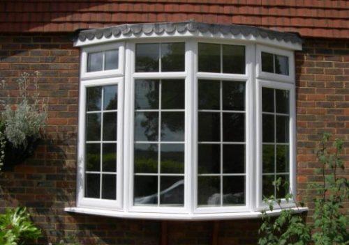 White uPVC casement bay windows