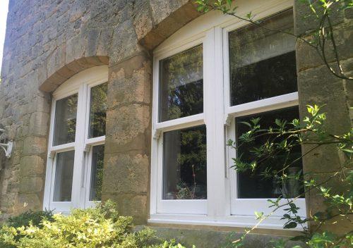 Dual white uPVC sash windows