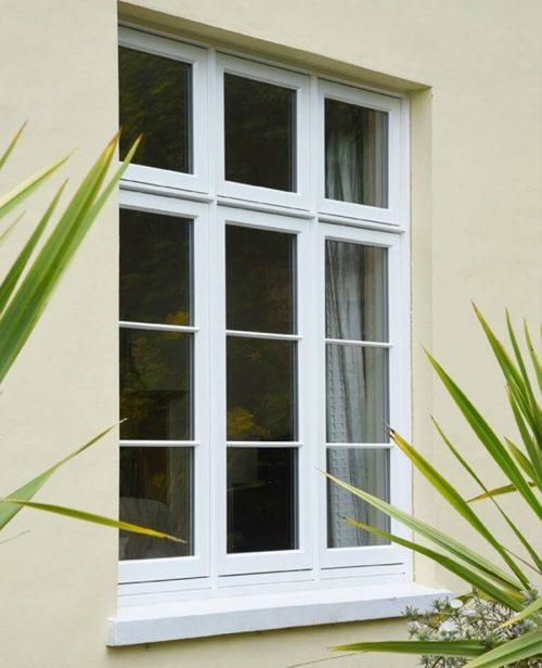 white flush windows