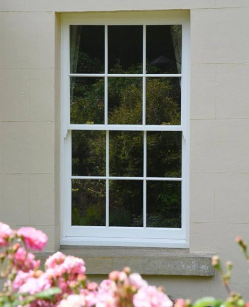 White timber sliding sash