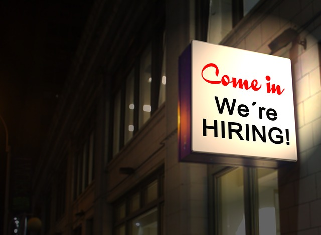Building with a hiring sign