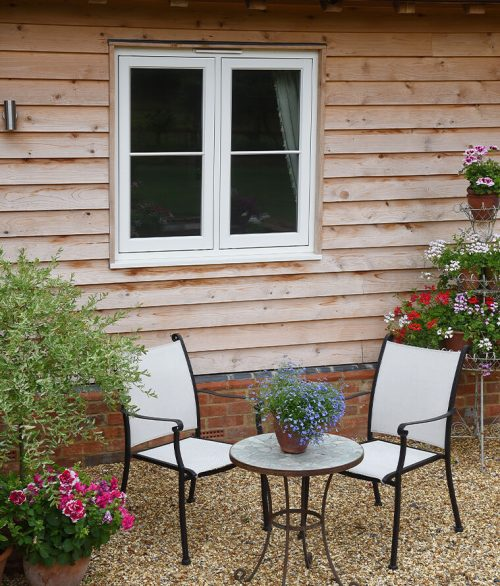 white timber flush sash window
