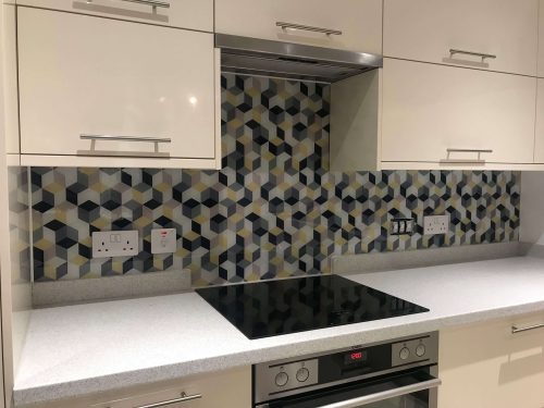 Geometric Digitally Printed Splash Back