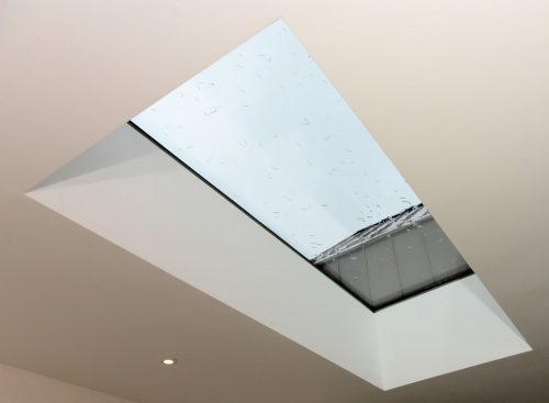 A roof light on a white celling